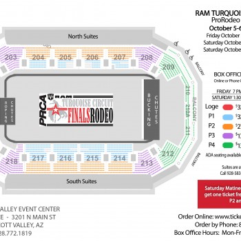 Seating chart for the Turquoise Circuit Finals Rodeo