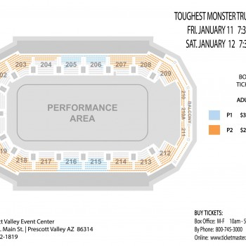 Seating chart for the Toughest Monster Truck show