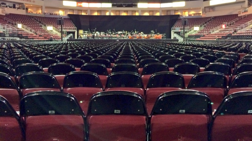 View Of The Stage From The Back Row Of Floor Seating.